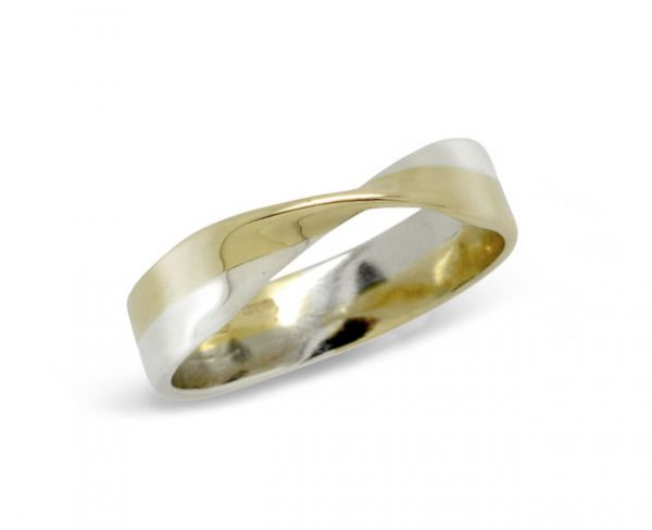 Twisted Wedding Band Two Colour Gold