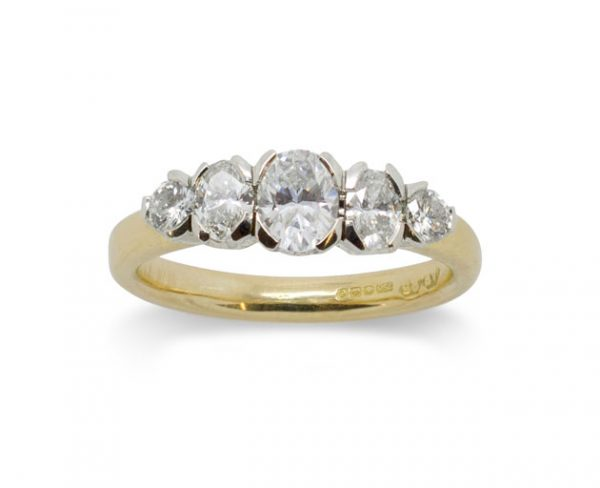 5 Oval Diamond Ring