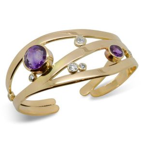 Amethyst and Diamond Gold Wave Cuff