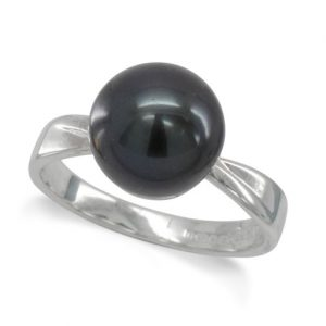black pearl ring with silver twisted band