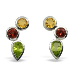 Citrine, Garnet and Peridot Silver Rubover Earrings