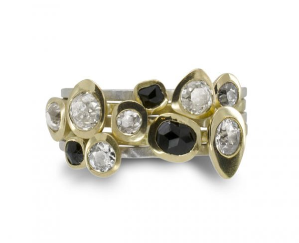 Diamond and black spinel rough pebble stacking rings