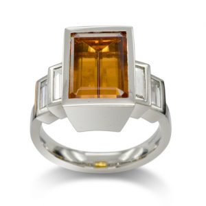Emerald Cut Yellow Topaz and Diamond Platinum Ring