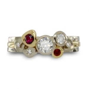 Gold Ruby and Diamond Rough Pebble Stacking Rings