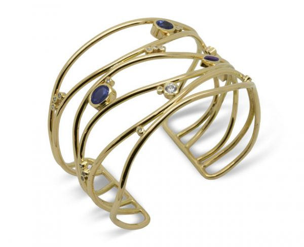 Wave Cuff in 9ct Yellow Gold Set With Diamonds and Semi Precious Stones