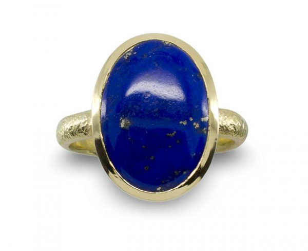 Lapis Lazuli Reticulated Gold Ring