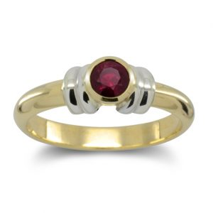 Ruby 18ct Gold Double Shoulder Ring