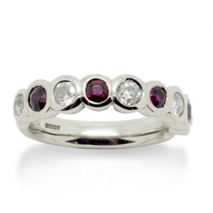 Ruby and Diamond Rubover Half Eternity Ring