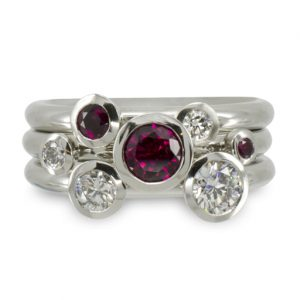 Stacking ring ruby and diamond