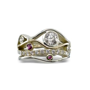 Ruby, Gold and Diamond Wave Ring