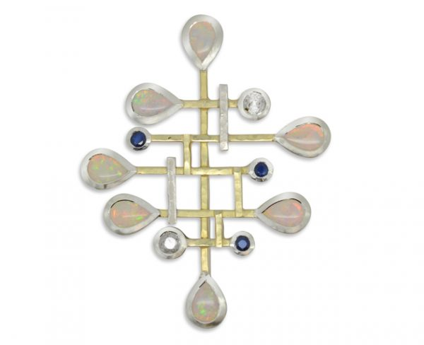 Opal, Diamond and Sapphire Brutalist Inspired Pendant