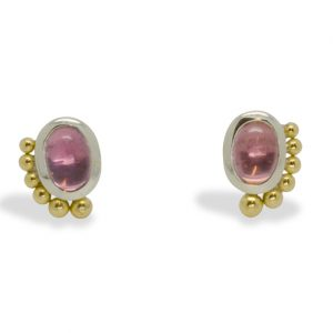 White and Yellow Gold Pink Tourmaline Roman Ear Studs