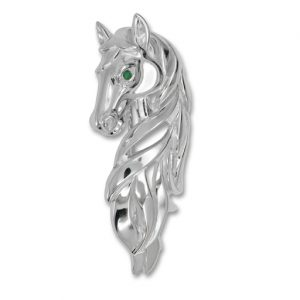One-off Silver Horse Brooch with an Emerald Eye