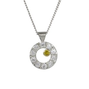 White and Yellow Diamond Pendant