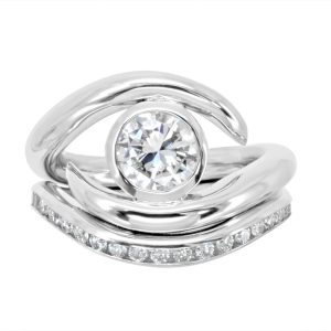 Engagement Ring & Diamond Fitted Band Set 1.5ct Diamond