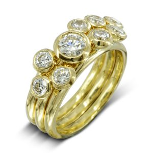 Modern Gold Diamond Stacking Rings