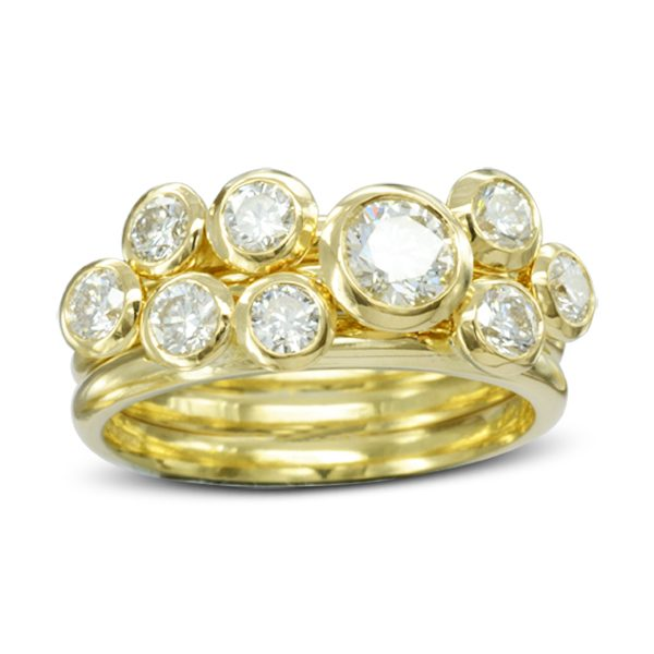 Unusual Gold Diamond Stacking Rings