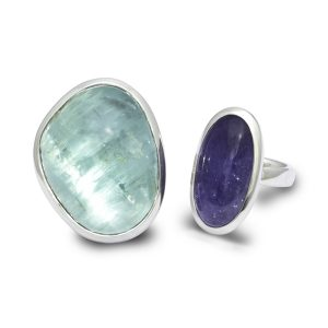 Silver Aquamarine and Tanzanite Cabochon Rings