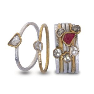 Rough Ruby Stacking Rings