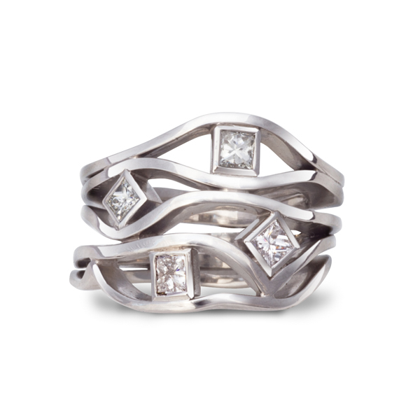 platinum and princess cut four strand wave ring