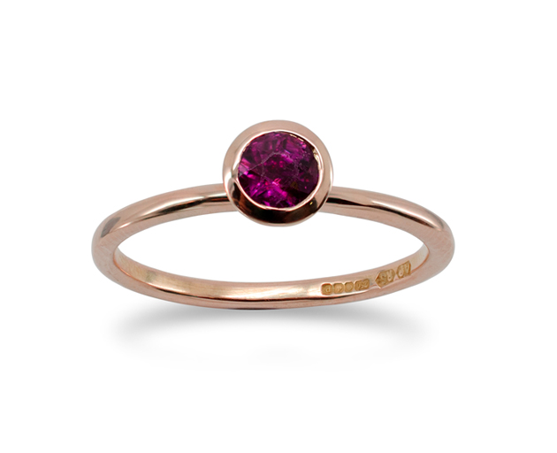 Rose Gold Ruby Stacking Ring