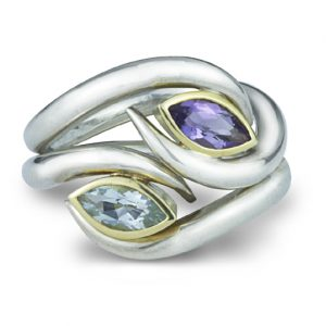 Stone Set Spiky Blue Topaz and Amethyst Rings