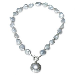 10-13mm White Baroque Pearl Necklace with mabe pearl pendant