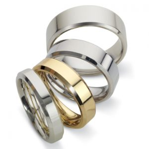 Wedding Rings with Bevelled Edge
