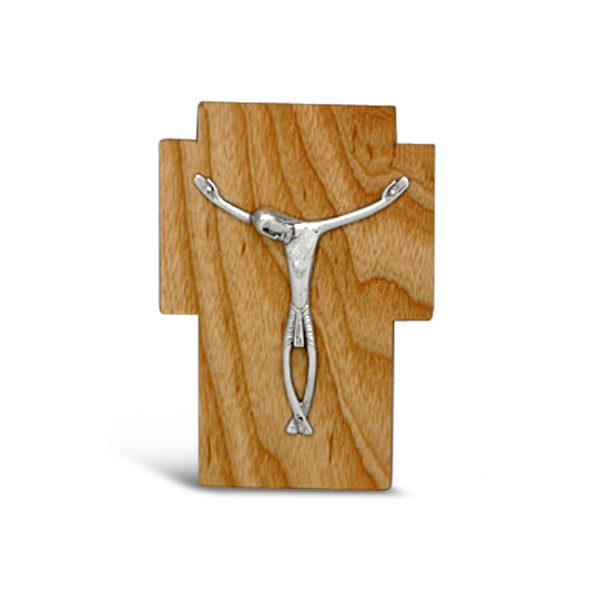 Silver Crucifix on Cherry Wood Cross By Dunstan Pruden