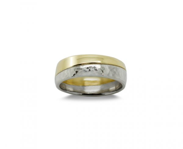 Wedding Ring with Diagonal 2 Colour Gold