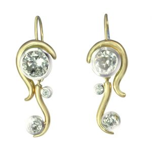 Gold, Platinum and Diamond Water Earrings