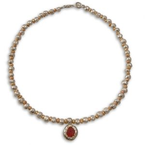 Rough Ruby Nugget Necklace with Pendant