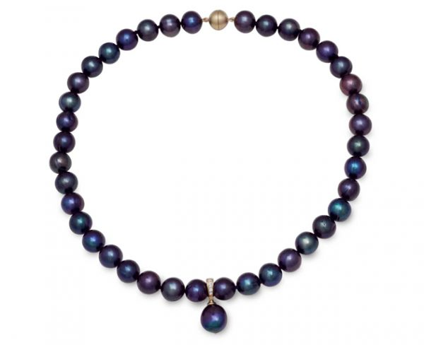 Black Oil Pearls with Gold and Diamond Pendant