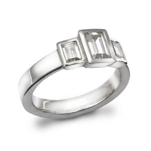 1.5ct Emerald Cut Diamond Trilogy Ring