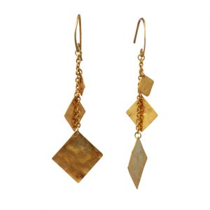 Hammered Squares Gold Plated Marwar Earrings