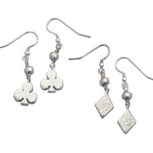 Card Charm and Silver Nugget Earrings