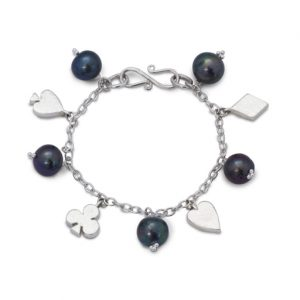 Card Charm Silver and Pearl Bracelet