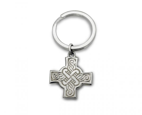 Silver Celtic Cross Keyring designed by Dunstan Pruden
