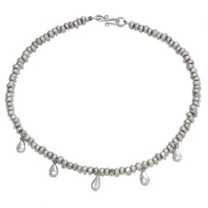 Silver Nugget Necklace with Peened Teardrop Charms