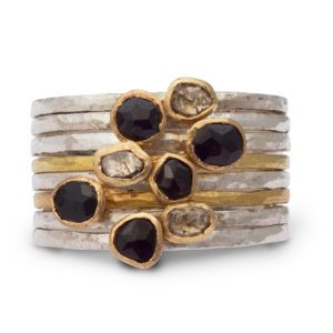 Black Spinel Stacking Rings