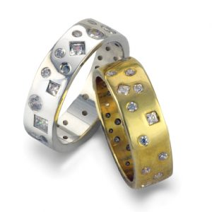 Wedding Rings with Diamond Scatter