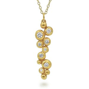 Diamond and Gold Multi Nugget Pendant