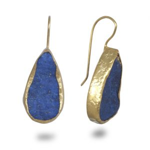 Lapis lazuli teardrop earrings 25 mm long in gold plated silver