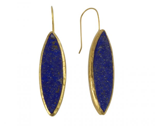large lapis lazuli earrings 30mm marquise shape in gold plated silver