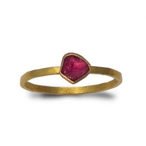 Gold rough ruby ring