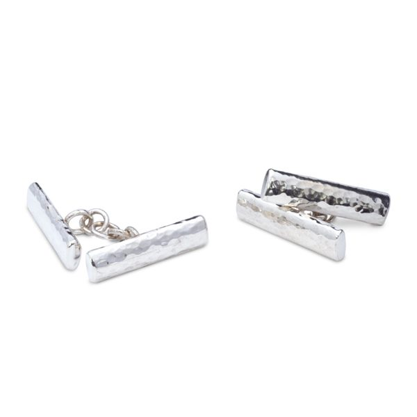 Hammered Silver Oval Bar Cufflinks