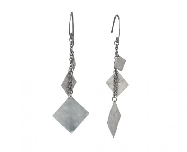 Hammered Silver Squares Marwar Earrings