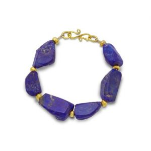 Lapis Lazuli and 9ct Gold Nugget Bracelet