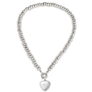 Silver Nugget Necklace with Peened Heart Pendant
