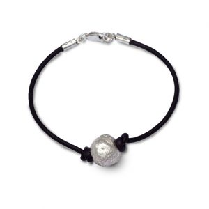 Silver Nugget Bead on Leather Thong Bracelet